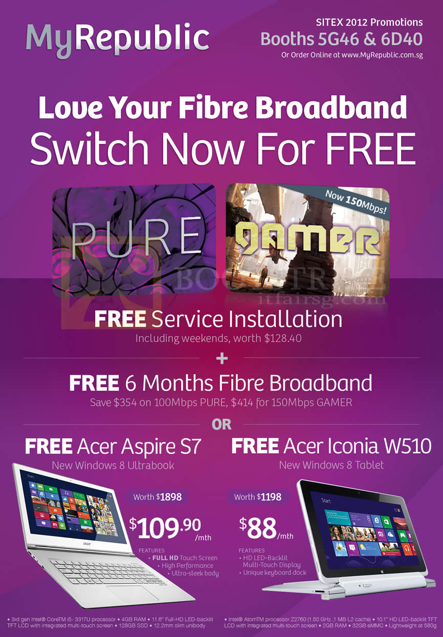 SITEX 2012 price list image brochure of MyRepublic Fibre Broadband Pure, Gamer, Free Service Installation, Free 6 Months Fibre Broadband, Free Acer Aspire S7 Ultrabook Notebook, Acer Iconia W510 Tablet