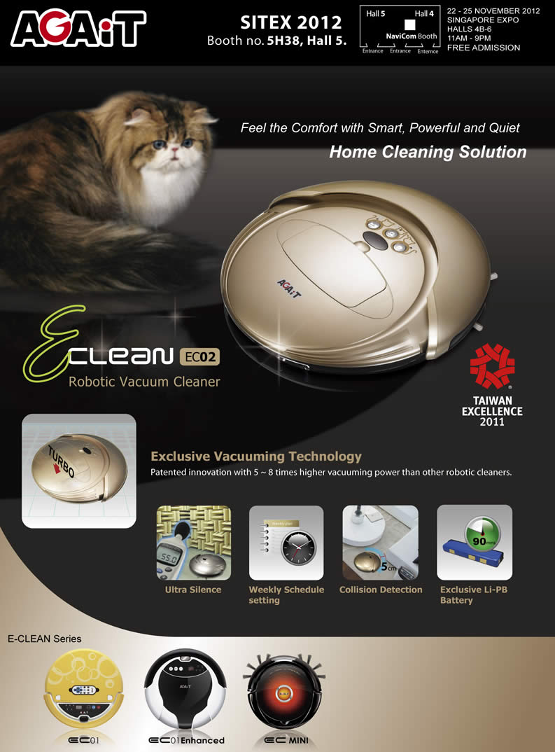 SITEX 2012 price list image brochure of Navicom Agait E-Clean Robotic Vacuum Cleaner EC02 Features