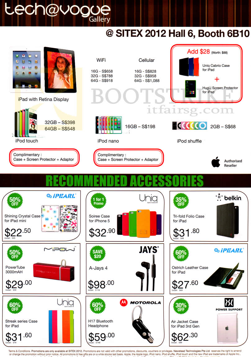 SITEX 2012 price list image brochure of Newstead Tech Vogue Apple IPad 4 Retina Display, IPod Touch, IPod Nano, IPod Shuffle, Case, External Battery