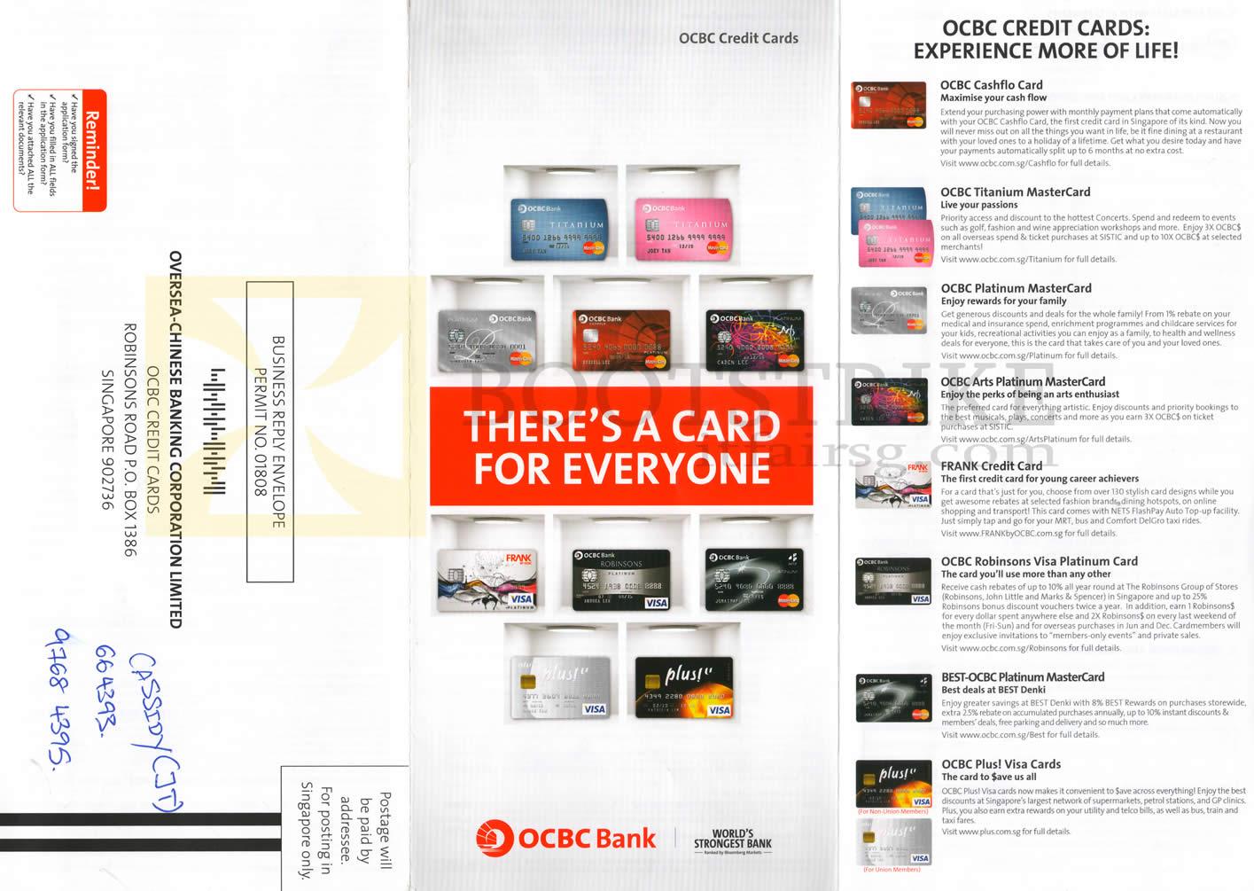 SITEX 2012 price list image brochure of OCBC Credit Cards Features Cashflo, Titanium MasterCards, Platinum, Arts, Frank, Robinsons Visa, Best, Plus