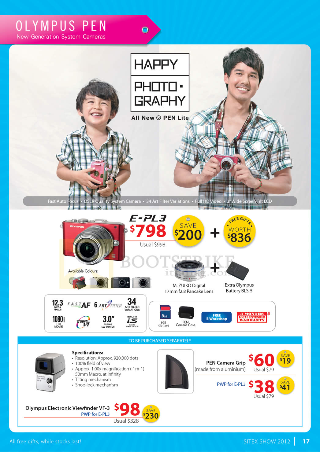 SITEX 2012 price list image brochure of Olympus Digital Camera Pen E-PL3, Specifications, Camera Grip