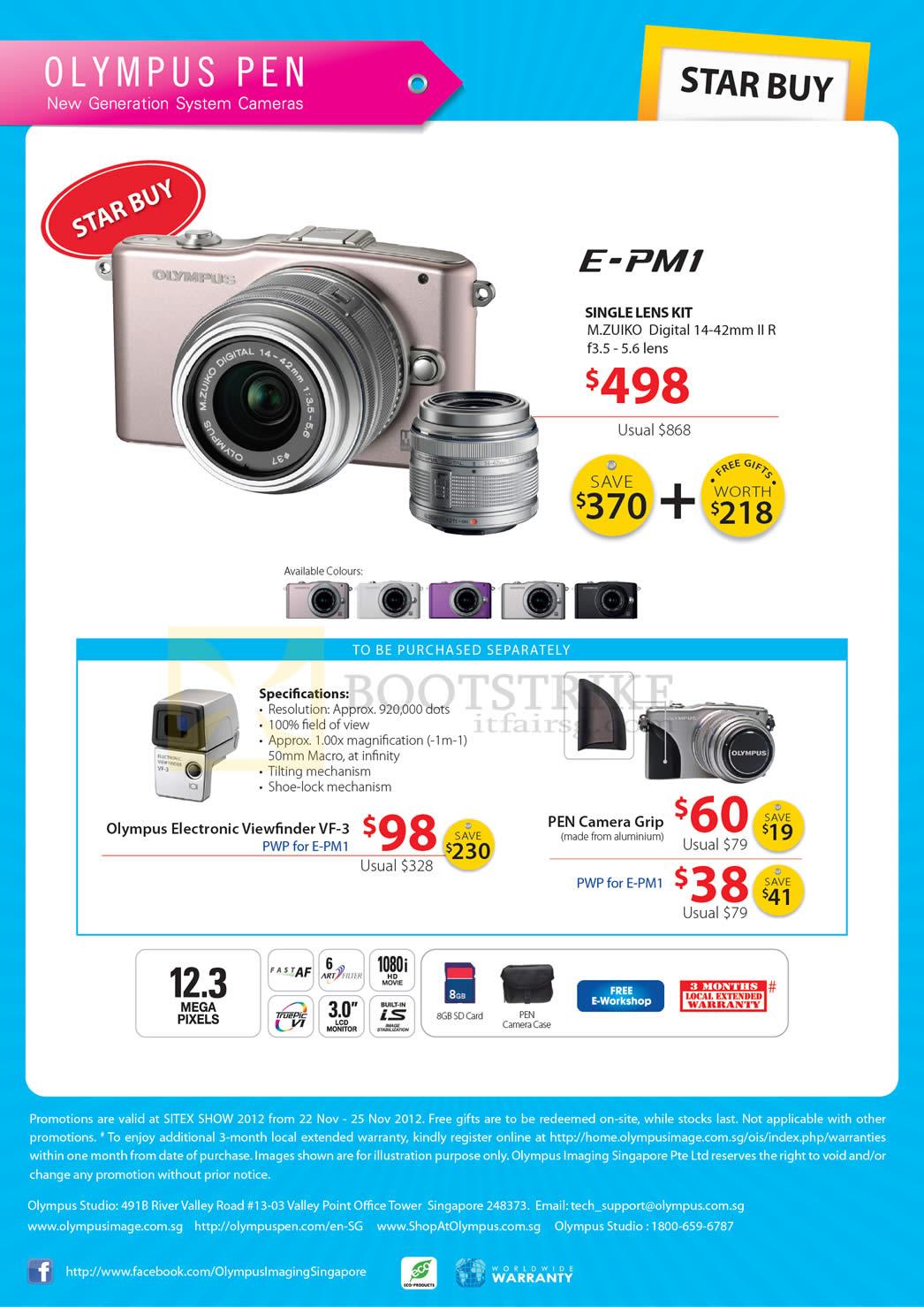 SITEX 2012 price list image brochure of Olympus Digital Camera Pen E-PM1, Specifications, Camera Grip