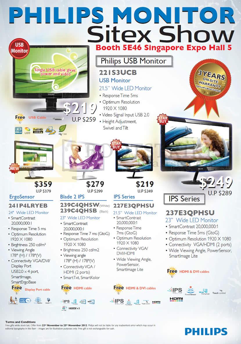 SITEX 2012 price list image brochure of Philips Monitors LED USB 22IS3UCB, 241P4LRYEB, 239C4QHSW, 227E3QPHSU, 237E3QPHSU