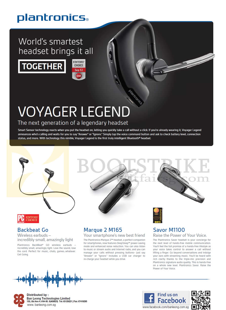 Plantronics Bluetooth Headsets Voyager Legend Backbeat Go Marque 2 Headset Stereo Sitex 2012 Price List Image Brochure Of
