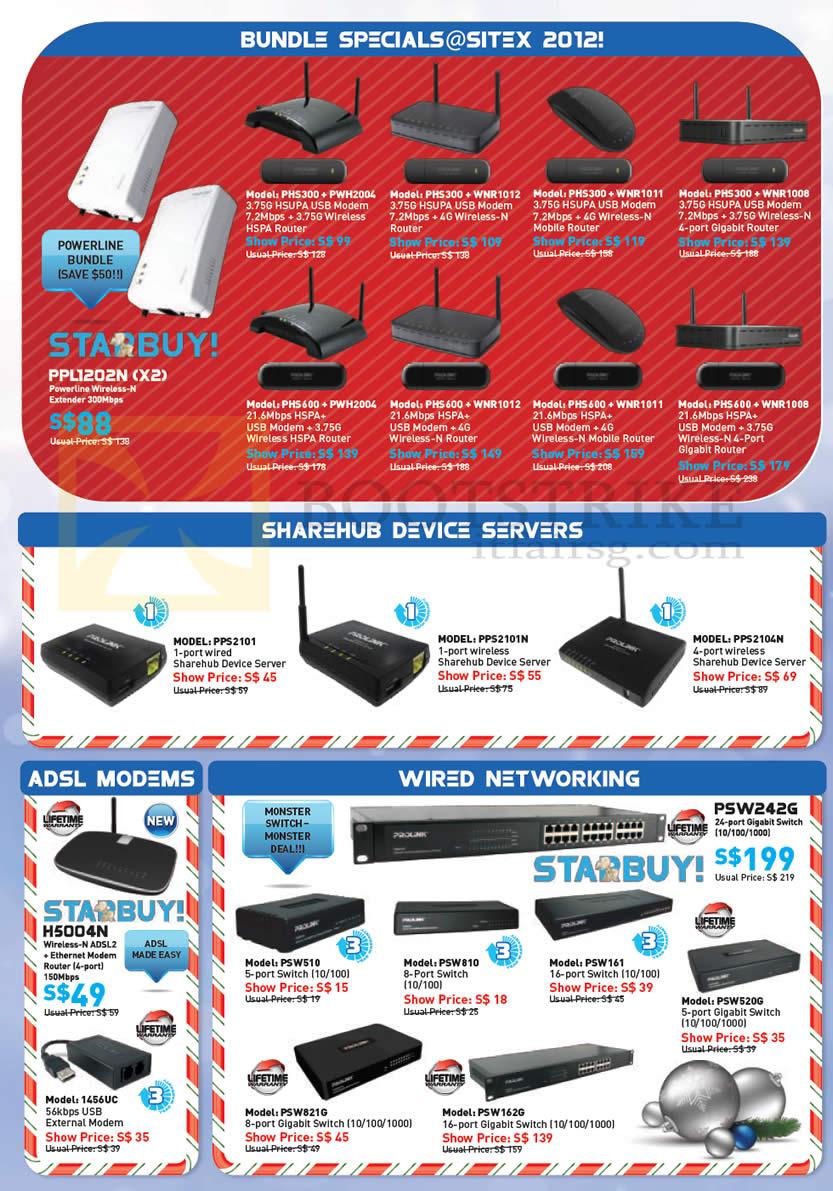 SITEX 2012 price list image brochure of Prolink Bundle Specials, Sharehub Device Servers, ADSL Modems, Switch, 56K