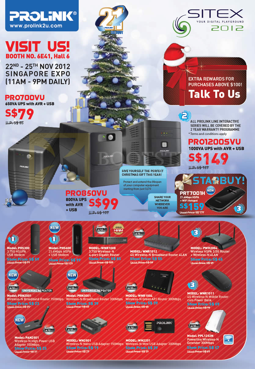 SITEX 2012 price list image brochure of Prolink UPS PRO700VU PRO850VU PRO1200SVU, Modem, Wireless Router, USB Adapter, Powerline, Extender