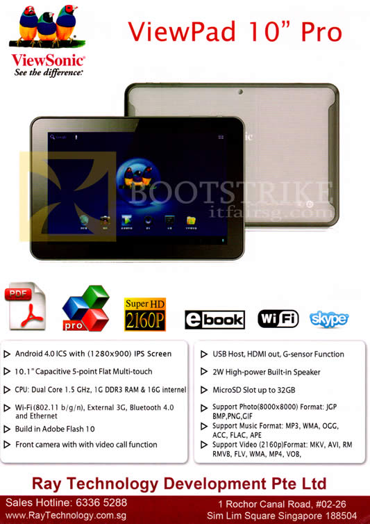 SITEX 2012 price list image brochure of Ray Tech Viewsonic Viewpad 10 Pro Tablet Android