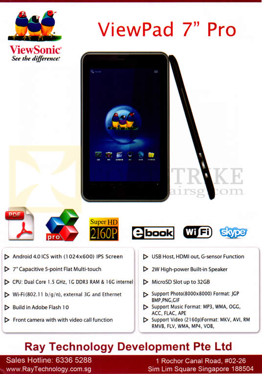 SITEX 2012 price list image brochure of Ray Tech Viewsonic Viewpad 7 Tablet Android