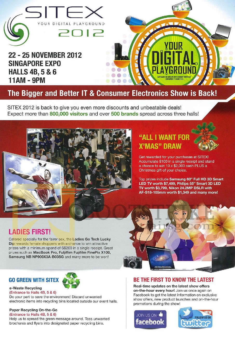 SITEX 2012 price list image brochure of SITEX 2012 Lucky Draw All I Want For Xmas, Prizes, Ladies Go Tech Lucky Dip, Recycling