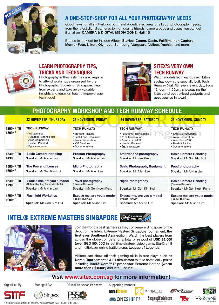 SITEX 2012 price list image brochure of SITEX 2012 Photography Workshop Tech Runway Schedule Time Table, Intel Extreme Masters Tournament