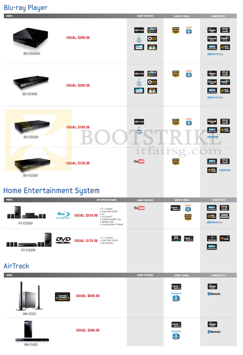 SITEX 2012 price list image brochure of Samsung Audio House Blu-Ray Player, Home Entertainment System, AirTrack