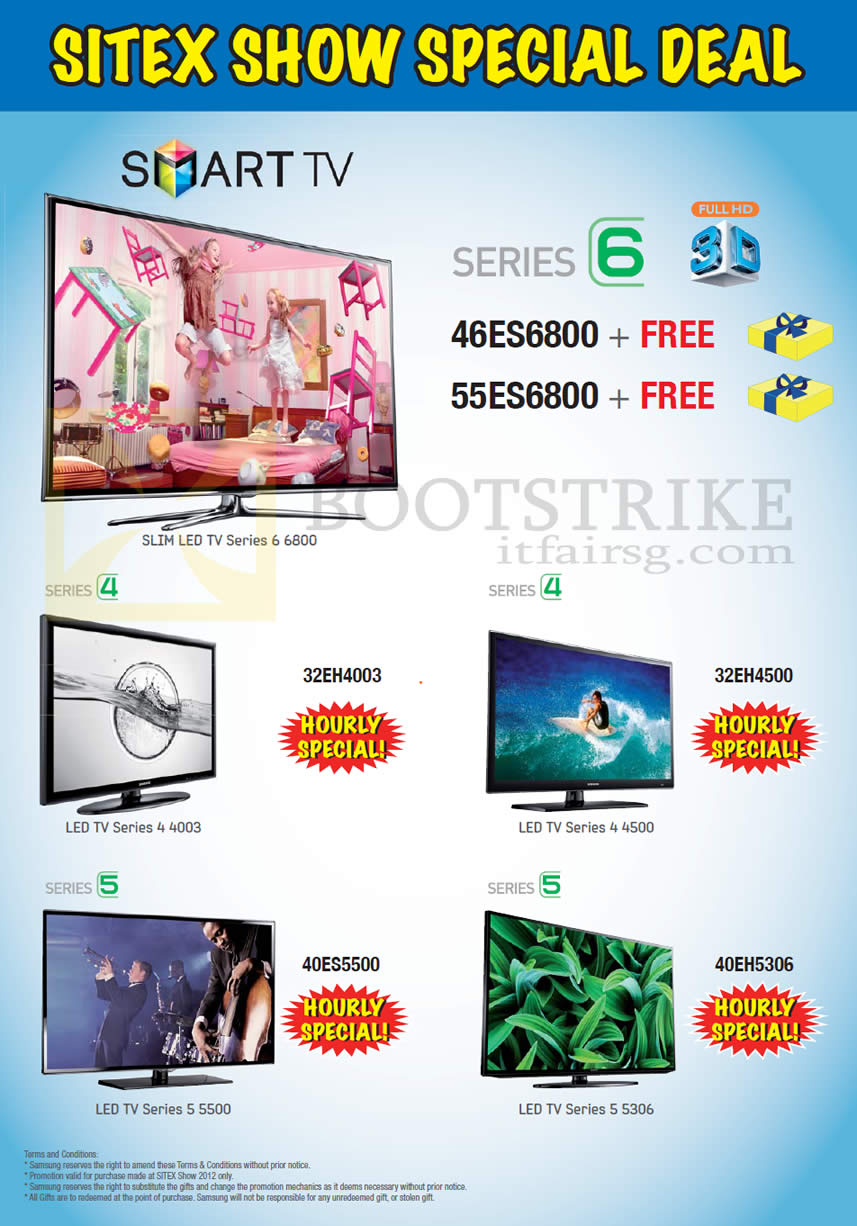 SITEX 2012 price list image brochure of Samsung Audio House Smart TV Hourly Specials