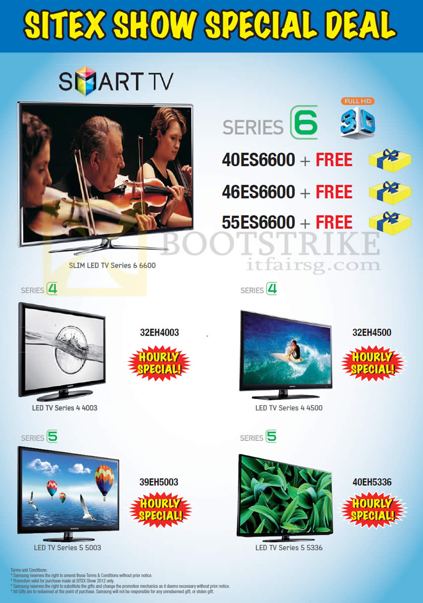 SITEX 2012 price list image brochure of Samsung Courts Smart TV Hourly Specials