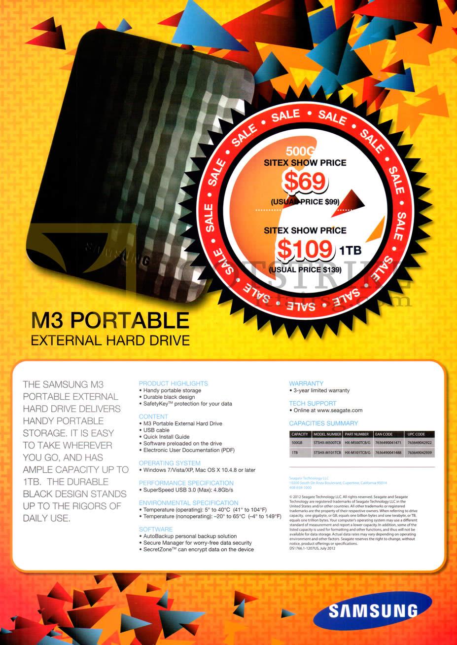 SITEX 2012 price list image brochure of Samsung External Storage M3 Portable