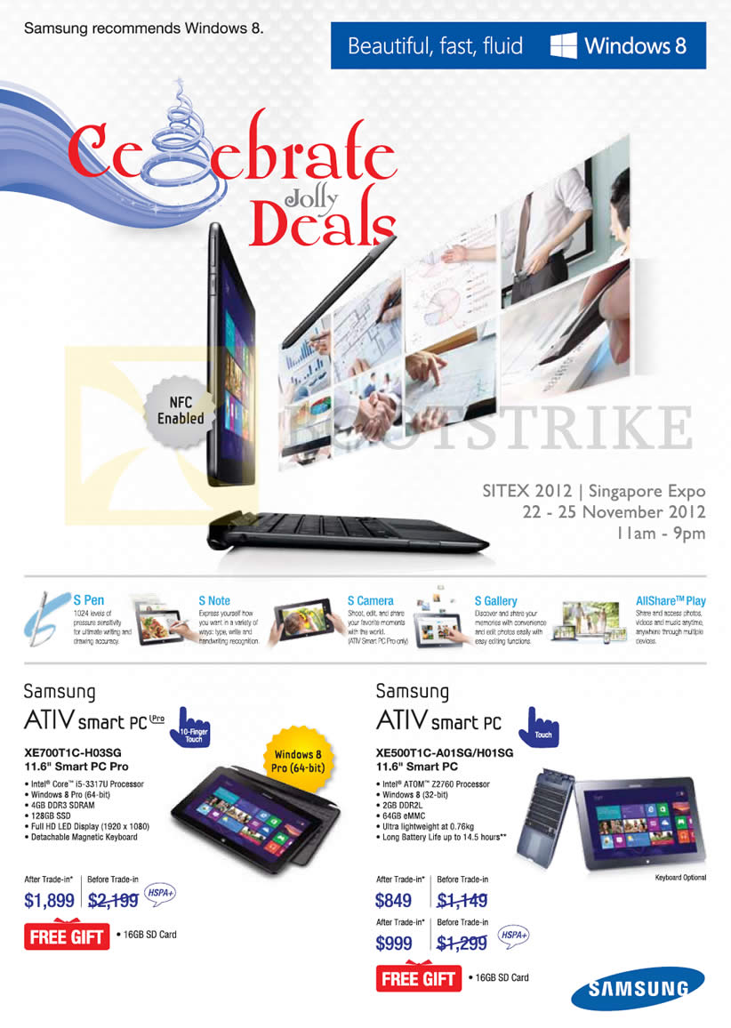 Samsung notebook in singapore - Sitex 2012 Price List Image Brochure Of Samsung Notebooks Tablets Ativ Smart Pc Xe700t1c H03sg