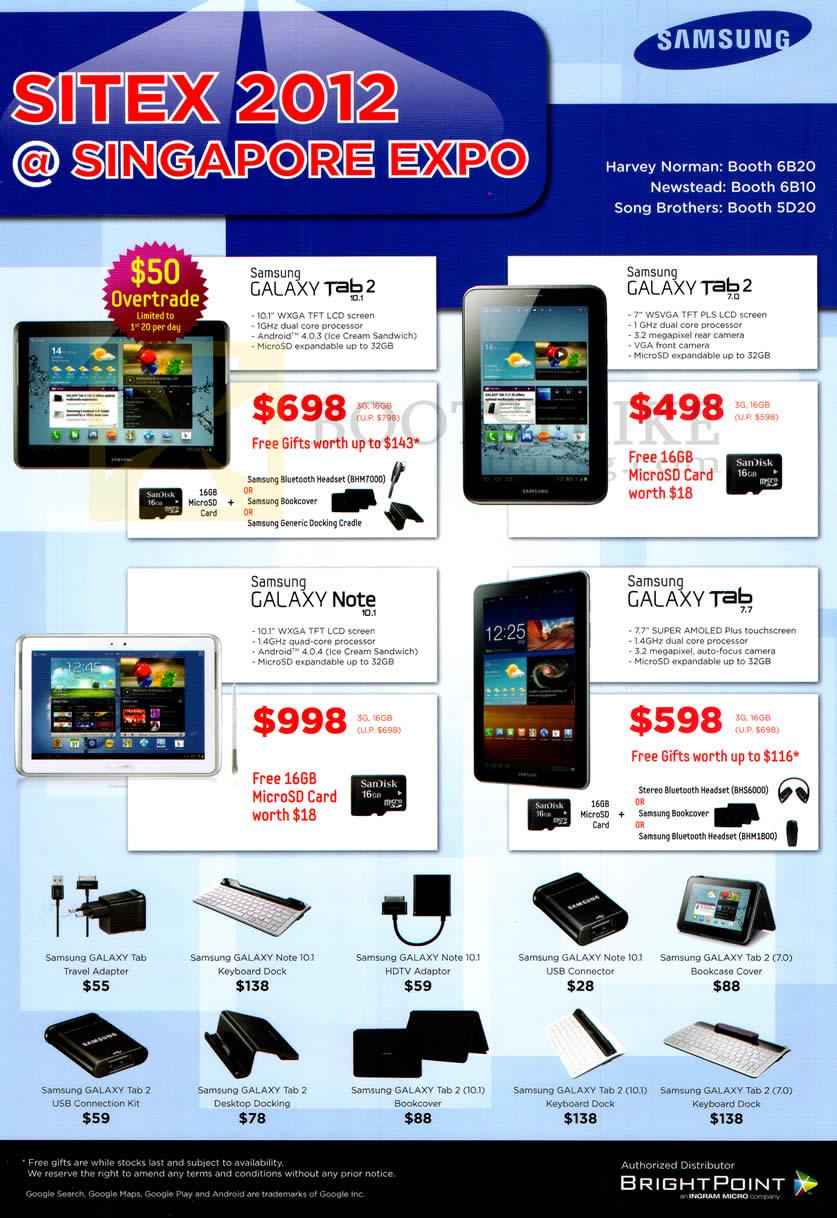 SITEX 2012 price list image brochure of Samsung Tablets Galaxy Tab 10.1, Tab 2 7.0, Note 10.1, Tab 7.7, Accessories
