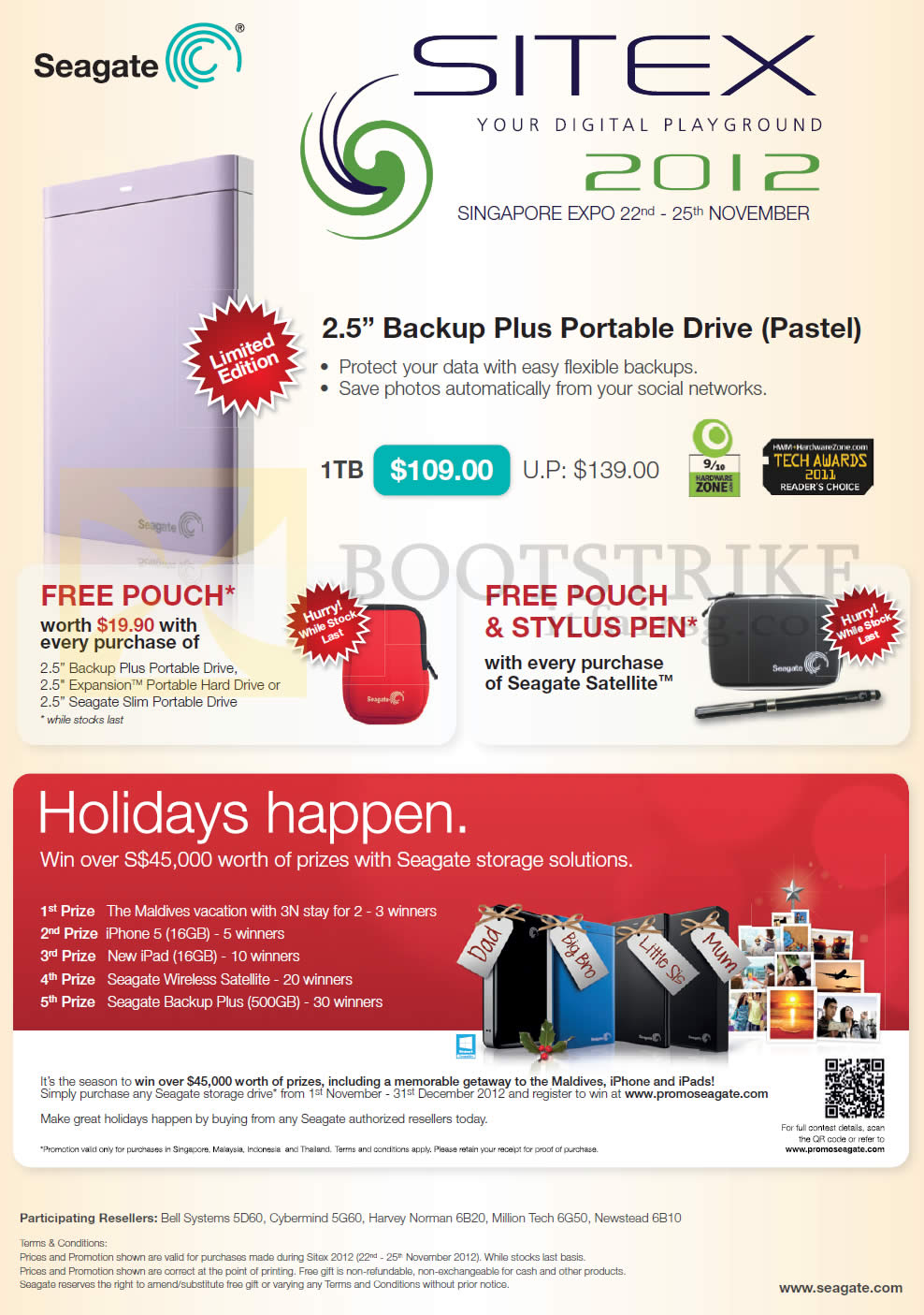 SITEX 2012 price list image brochure of Seagate External Storage Backup Plus Portable Drive Pastel 1TB
