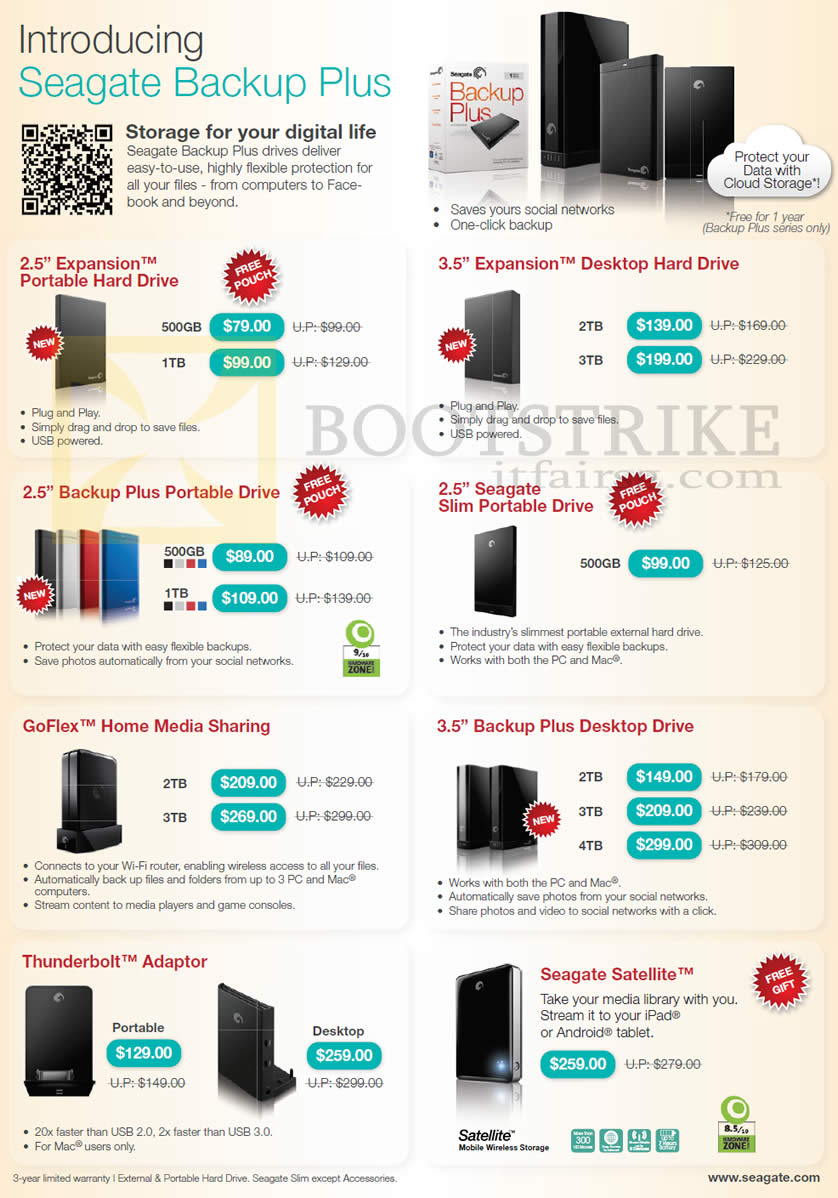 SITEX 2012 price list image brochure of Seagate External Storage Backup Plus. Expansion, Slim Portable, GoFlex Home Media Sharing, Thunderbolt Adapter, Satellite