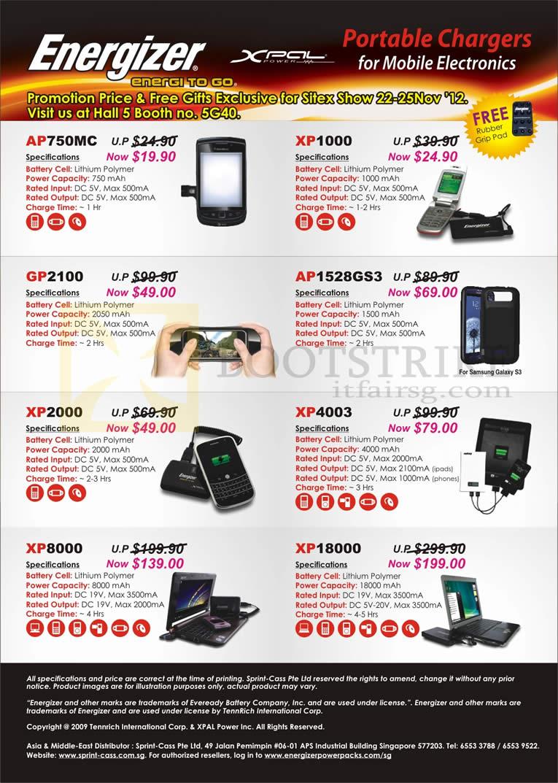 SITEX 2012 price list image brochure of Sprint-Cass Energizer Portable Charger AP750MC, XP1000, GP2100, AP1528GS3, XP2000, XP4003, XP8000, XP18000