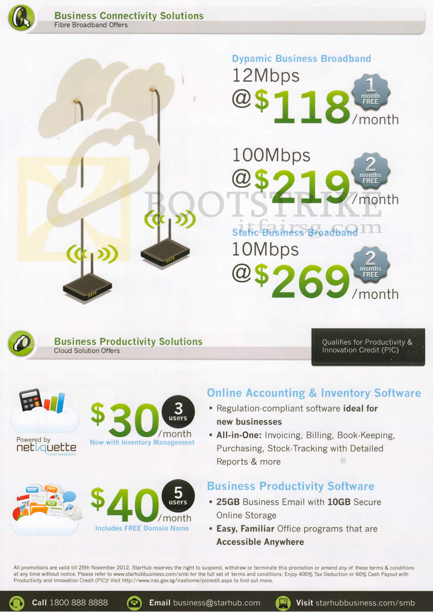 SITEX 2012 price list image brochure of Starhub Business Broadband 10Mbps, 12Mbps, 100Mbps, Accounting, Business Productivity
