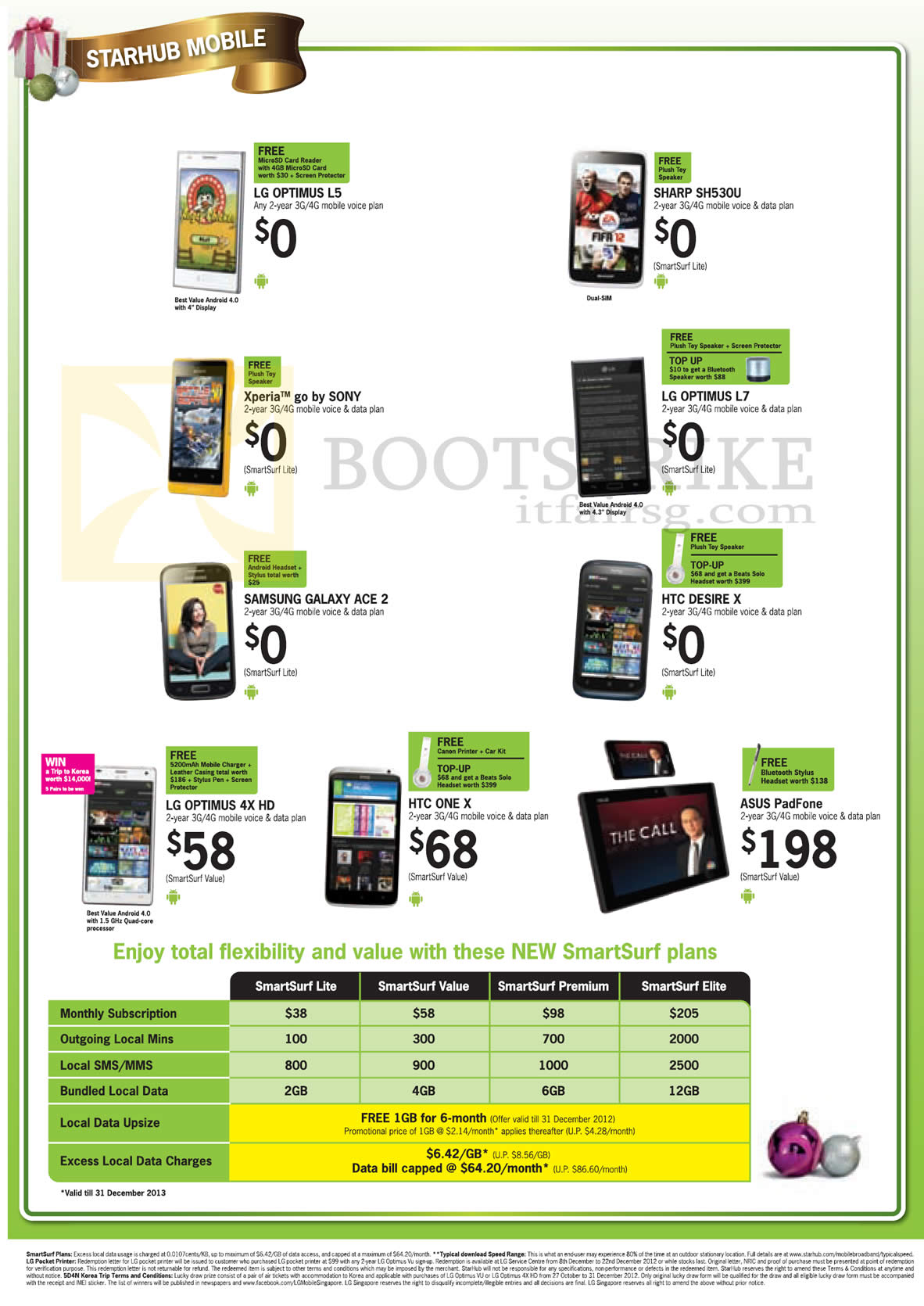 SITEX 2012 price list image brochure of Starhub Mobile Phones LG Optimus L5 L7 4X HD, Sharp SH530U, Sony Xperia Go, Samsung Galaxy Ace 2, HTC Desire X One X, ASUS PadFone