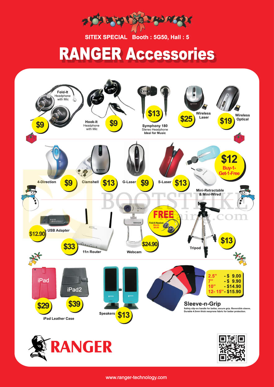 SITEX 2012 price list image brochure of Systems Tech Ranger Accessories Headphones, Headset, Wireless Mouse, Router, USB Adapter, Webcam, Tripod, IPad Case, Sleeve-n-Grip, Speakers