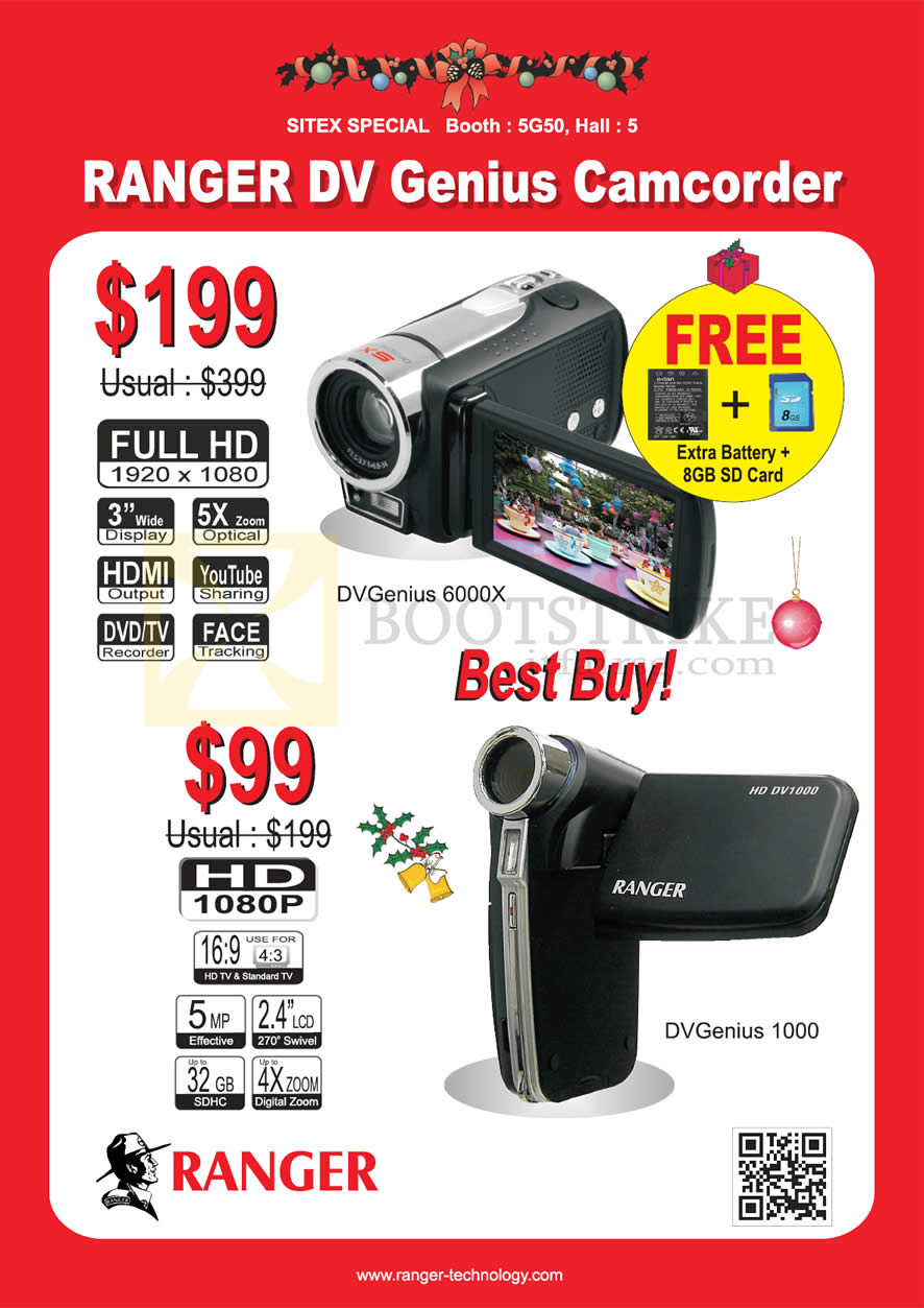 SITEX 2012 price list image brochure of Systems Tech Ranger DV Genius Camcorder Video 6000X, 1000