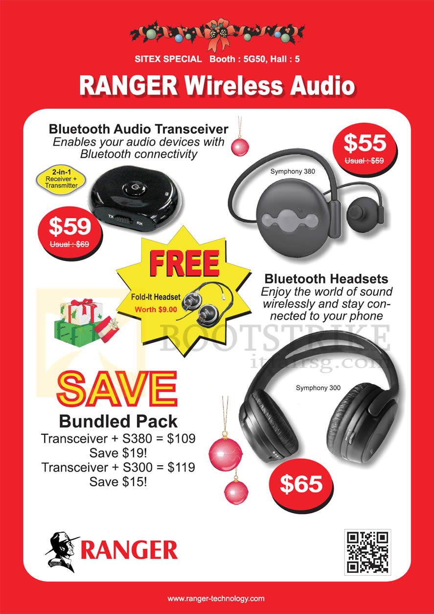 SITEX 2012 price list image brochure of Systems Tech Ranger Wireless Audio, Bluetooth Transceiver, Headsets Symphony 300, 380