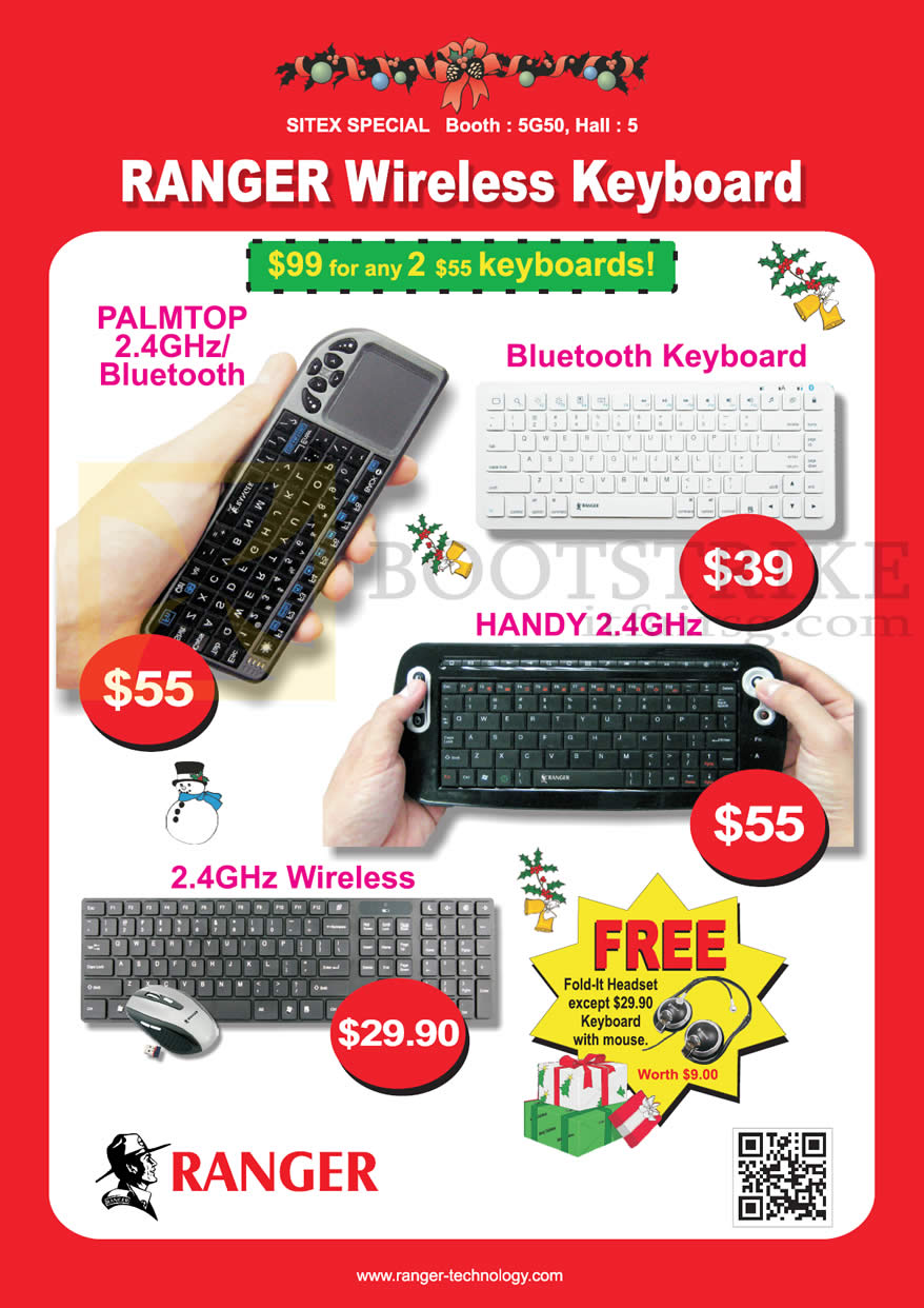 SITEX 2012 price list image brochure of Systems Tech Ranger Wireless Keyboard Palmtop Bluetooth