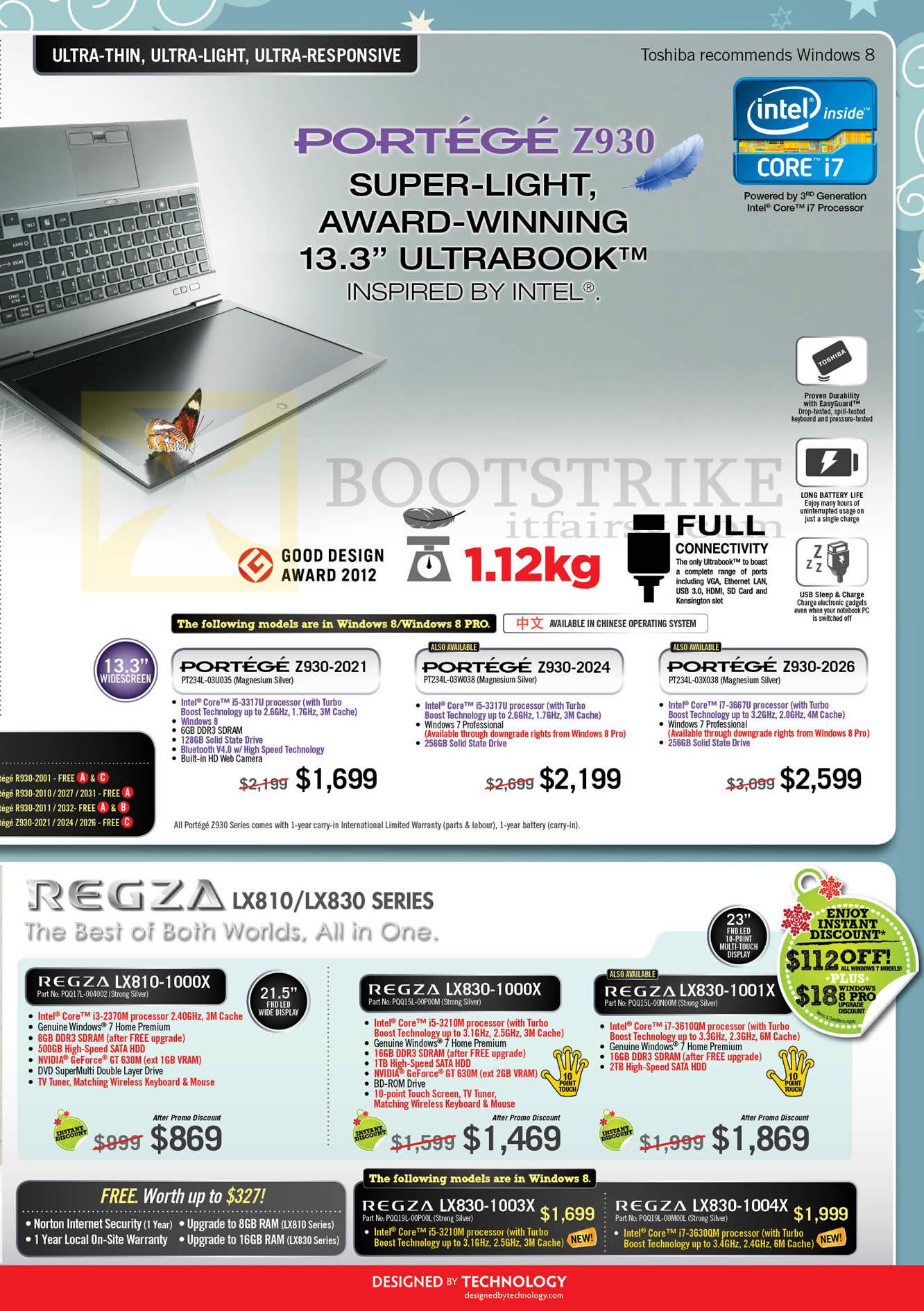 SITEX 2012 price list image brochure of Toshiba Notebooks Portege Z930-2021, Z930-2024, Z930-2026, Regza AIO Desktop PC LX810-1000X, LX830-1000X