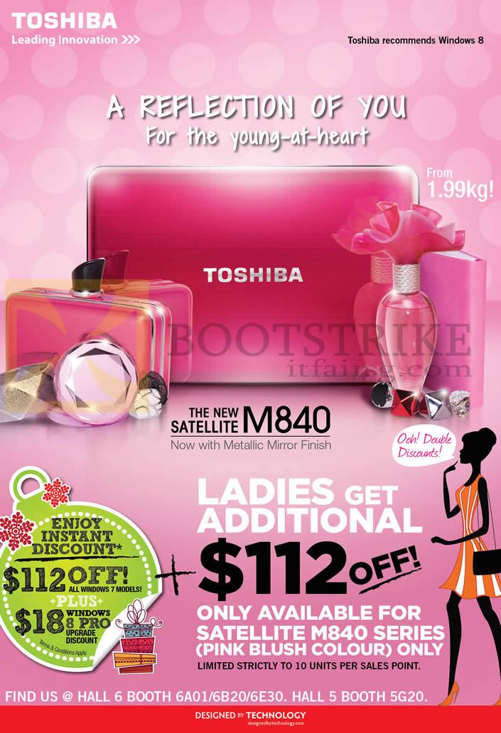 SITEX 2012 price list image brochure of Toshiba Notebooks Satellite M840 Ladies 112 Dollars Off