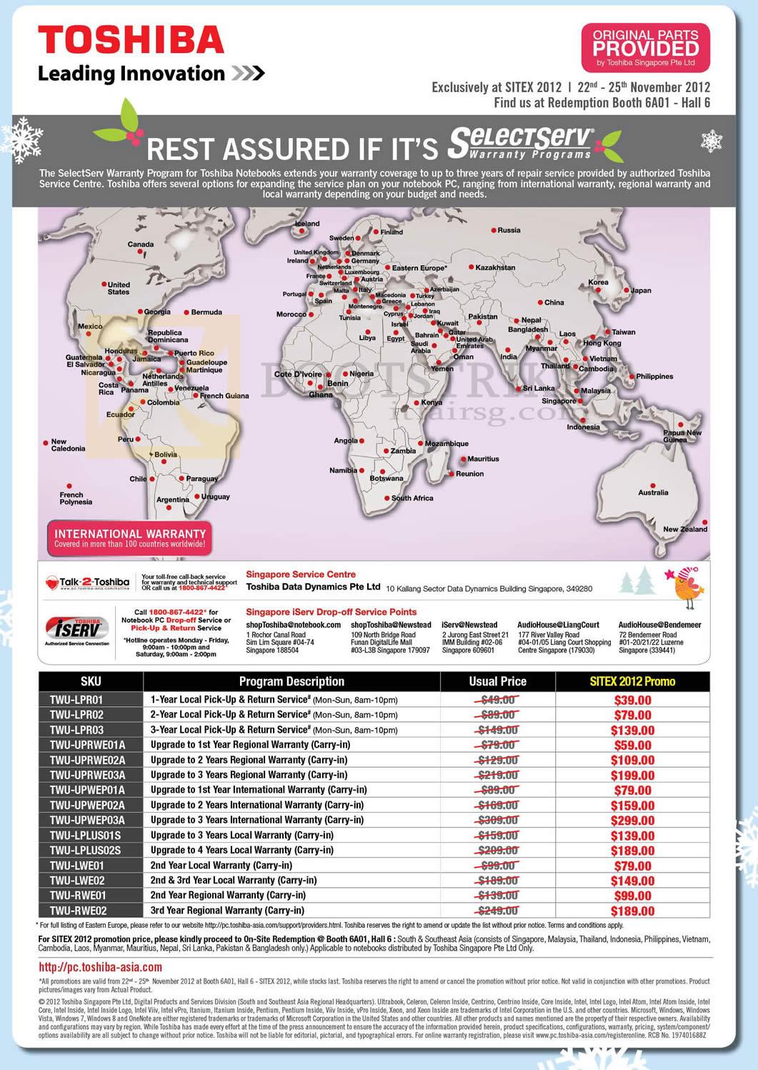 SITEX 2012 price list image brochure of Toshiba SelectServ Warranty Program, Upgrades