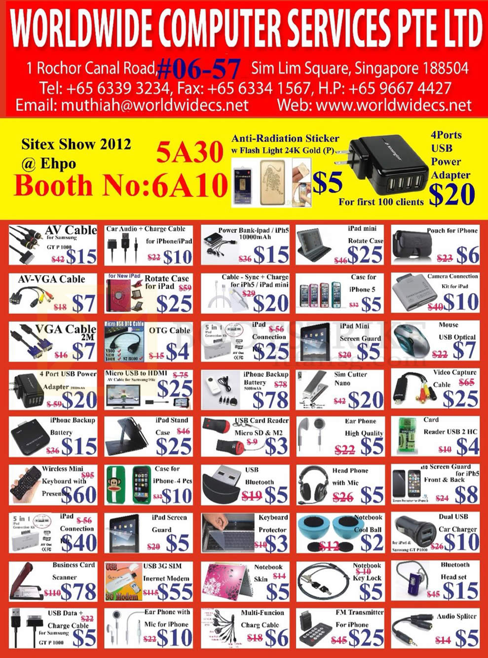 SITEX 2012 price list image brochure of Worldwide Computer Accessories AV Cable, External Battery, IPad Mini Case, IPhone 5 Case, Card Reader, Wireless Keyboard, Screen Protector, 3G Modem, Headphones, Earphones