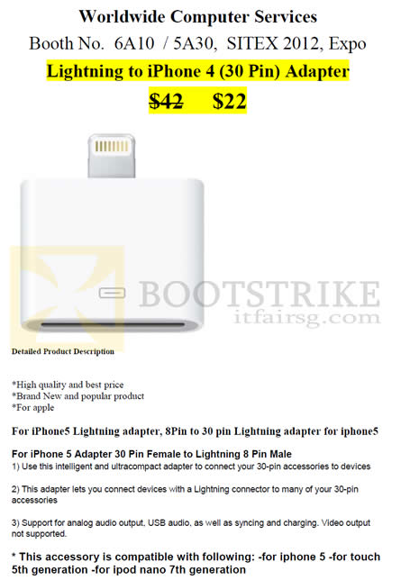 SITEX 2012 price list image brochure of Worldwide Computer Accessories Lightning To IPhone 4 Adapter
