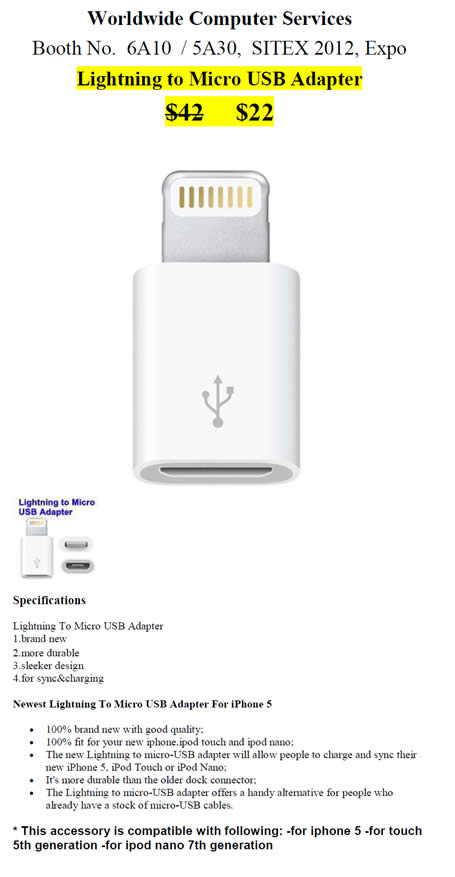 SITEX 2012 price list image brochure of Worldwide Computer Accessories IPhone Lightning To Micro USB Adapter