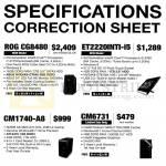 Desktop PC Specifications Correction ROG CG8480, ET2220INTI, CM1740-A8, CM6731