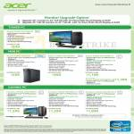 Desktop PCs Aspire M1935 G645M25, Mini X3995 I32M25 I347MR45 I347MR81T, Predator G3620 I347MR81T I37MR81T I37MR162T