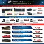 Keyboards Vengenance K60 K90, Mouse M60 M90, Gaming Headset 1300 1500 2000, DDR3 SODIMM RAM Memory