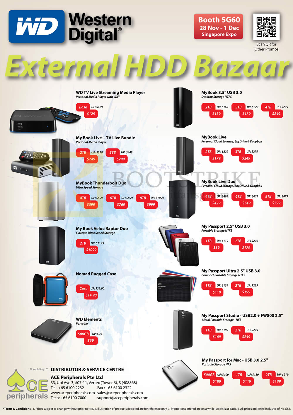 SITEX 2013 price list image brochure of Ace Peripherals Western Digital External Storage, My Book Live, Duo, Passport, TV Live Media Player, Thunderbolt, VelociRaptor, Nomad