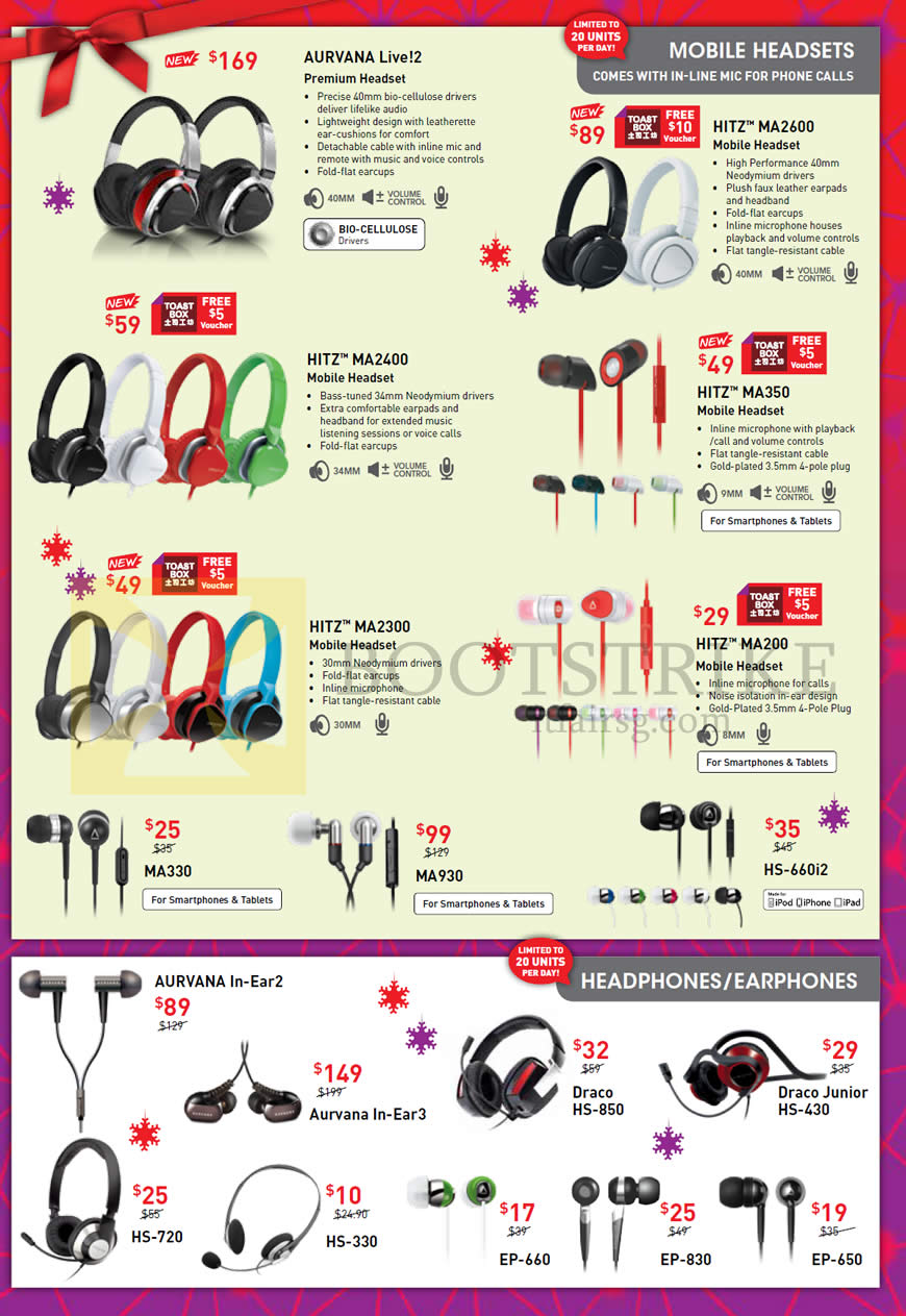 SITEX 2013 price list image brochure of Creative Mobile Headsets Aurvana Live 2, Hitz MA2600 MA2400 MA350 MA2300 MA200 Earphones, MA330 MA930 HS-660i2, Draco