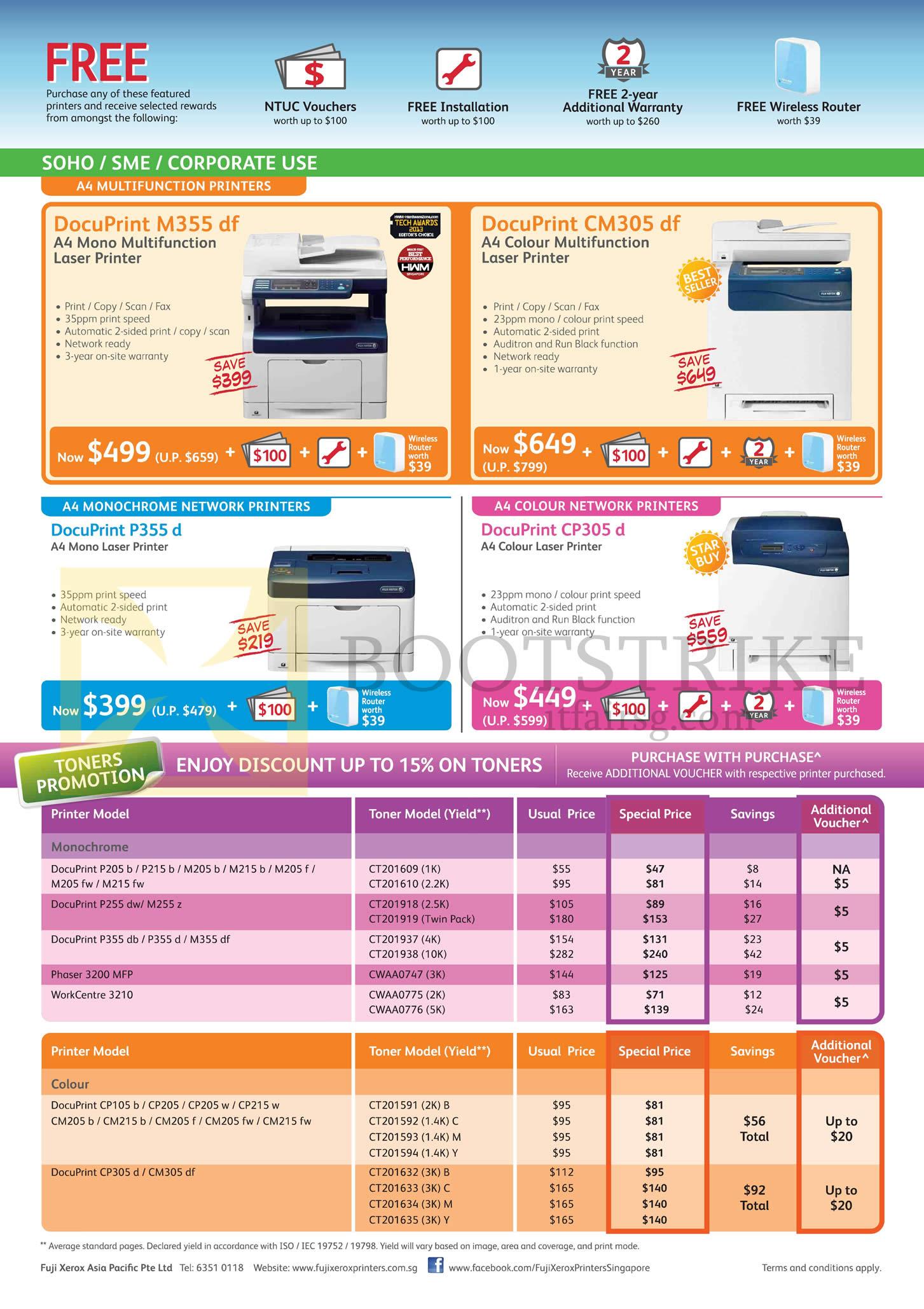 Fuji Xerox Printers Laser, Toners, DocuPrint M355df, CM305df, P355d