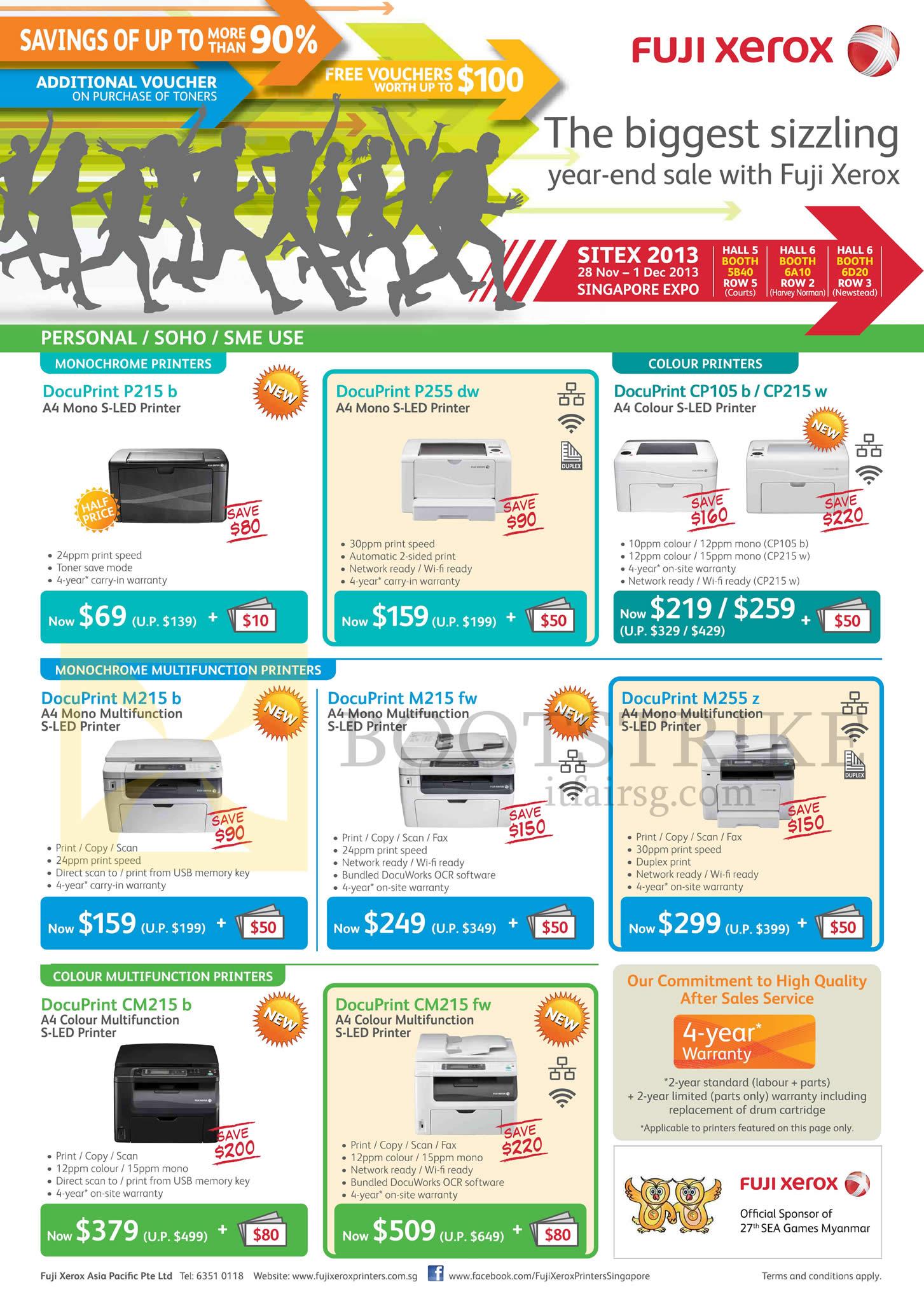 SITEX 2013 price list image brochure of Fuji Xerox Printers S-LED DocuPrint P215b, P255dw, CP105b, CP215W, M215b, M215fw, M255z, CM215b, CM215fw