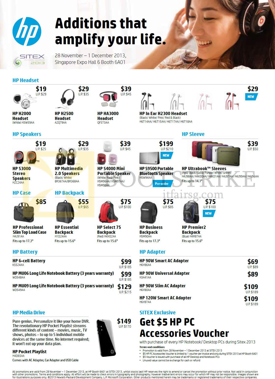 SITEX 2013 price list image brochure of HP Accessories Headphones, Speakers, Case, Backpacks, Batteries, Adapters, H2000, H2500, H2300, S3000, S4000, S9500
