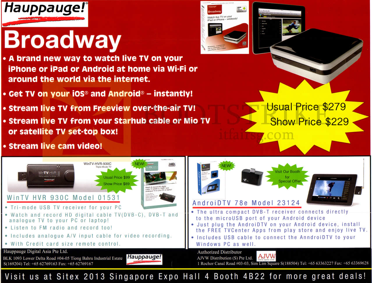 SITEX 2013 price list image brochure of Happuage Broadway, WinTV HVR 930C 01531 USB TV Receiver, AndroidTV 78E 23124 DVB-T Receiver
