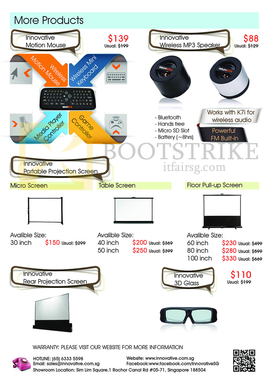 SITEX 2013 price list image brochure of Innovative Accessories Mouse, Speaker, Projection Screen, 3D Glass