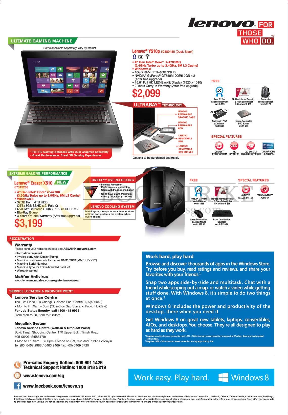 Lenovo Notebook Gaming Y510p, Desktop PC Erazer X510