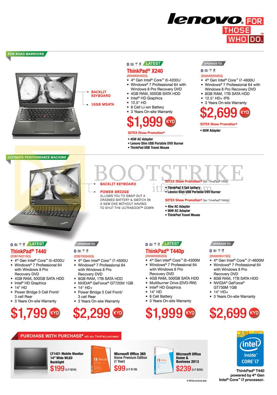 SITEX 2013 price list image brochure of Lenovo Notebooks Thinkpad X240, T440, T440p