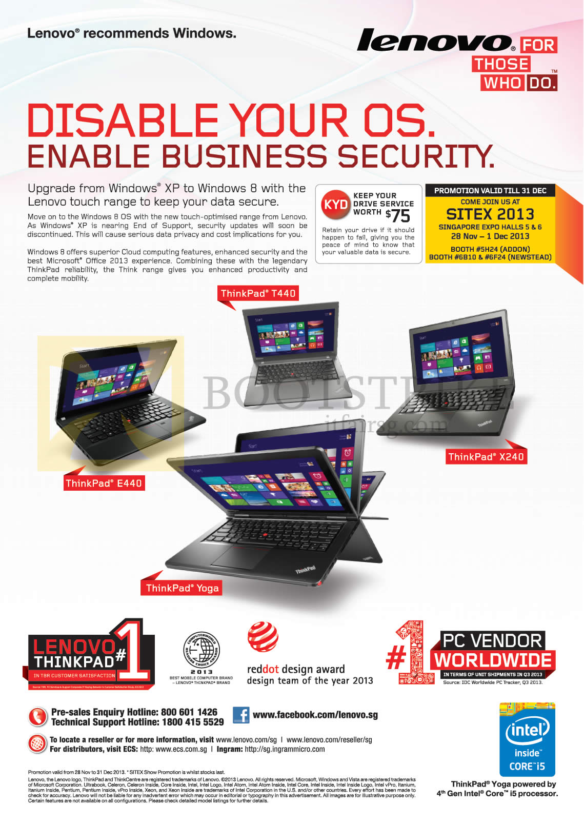 SITEX 2013 price list image brochure of Lenovo Windows 8 Features, Notebooks Thinkpad E440, T440, X240, Yoga
