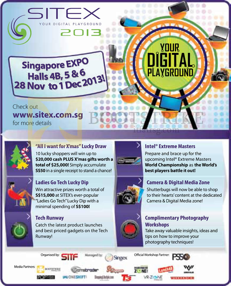 SITEX 2013 price list image brochure of Lucky Draw, Ladies Go Tech Lucky Dip, Tech Runway, Intel Extreme Masters, Zones, Workshops