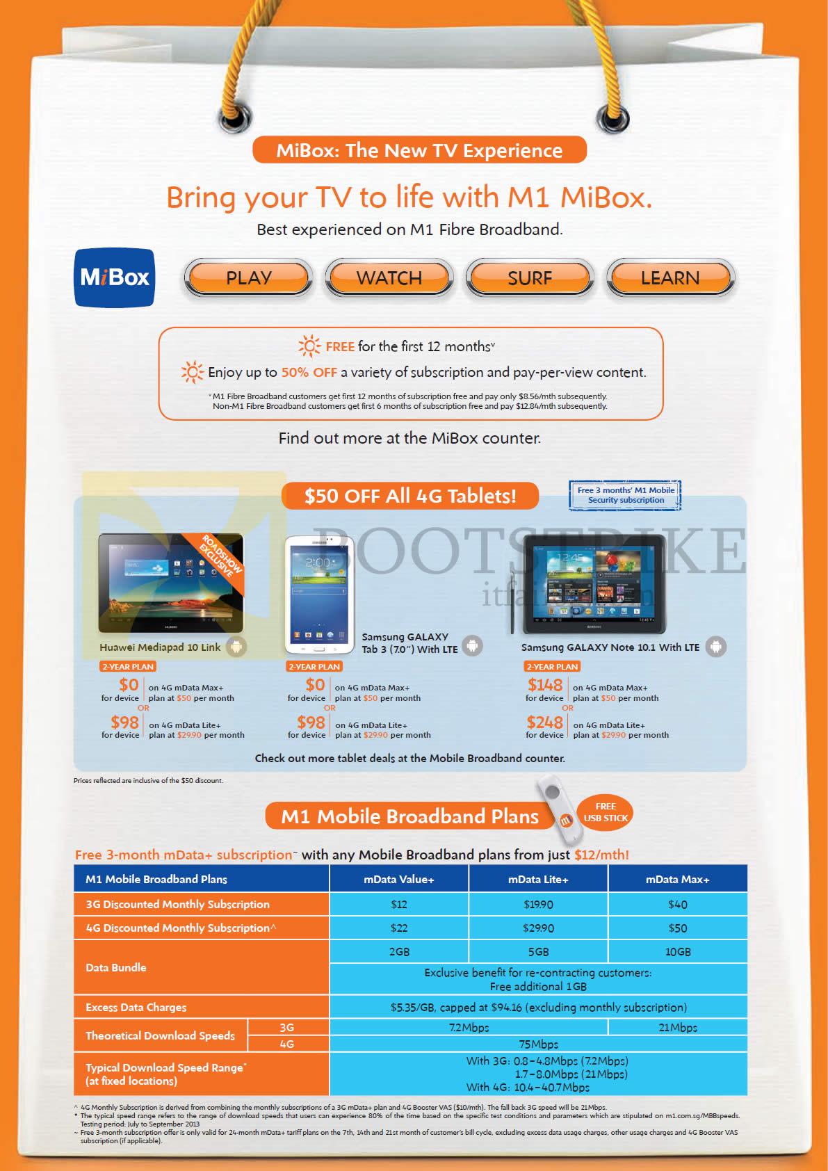 SITEX 2013 price list image brochure of M1 Mobile Broadband Tablets Huawei Mediapad 10 Link, Samsung Galaxy Tab 3 7.0, Note 10.1, Mobile Broadband Plans MData Value Lite Max, MiBox